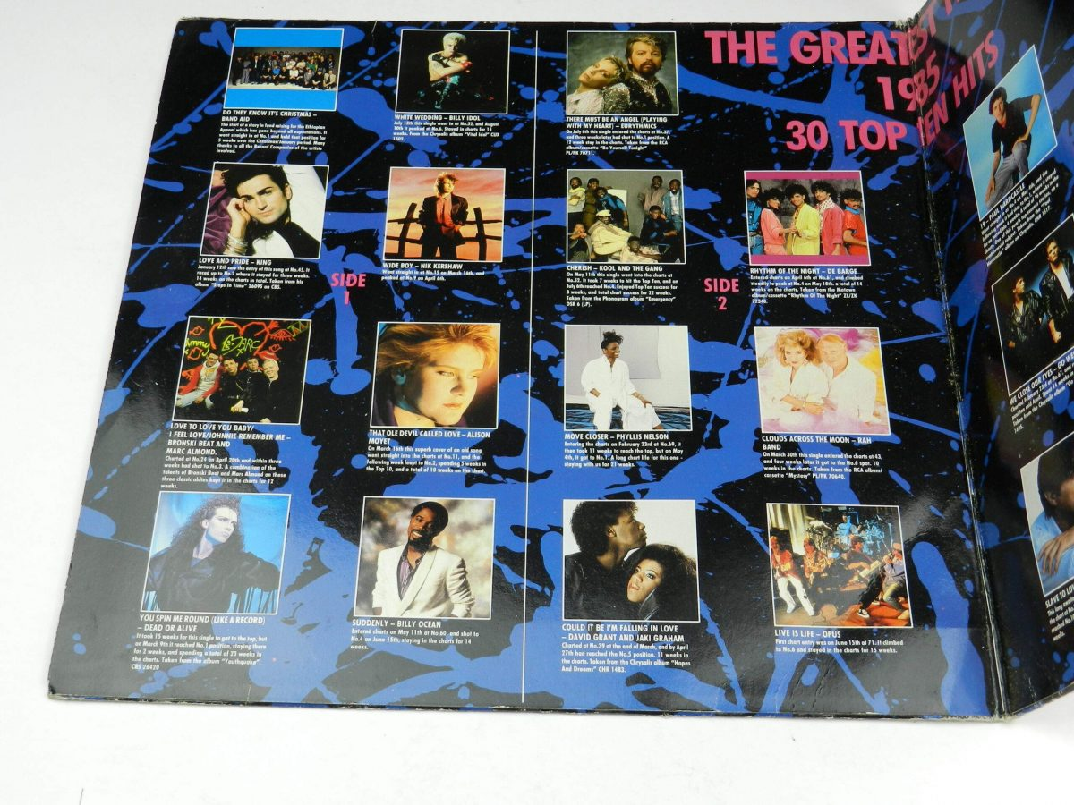 Various – The Greatest Hits Of 1985 vinyl record sleeve gatefold 1 scaled