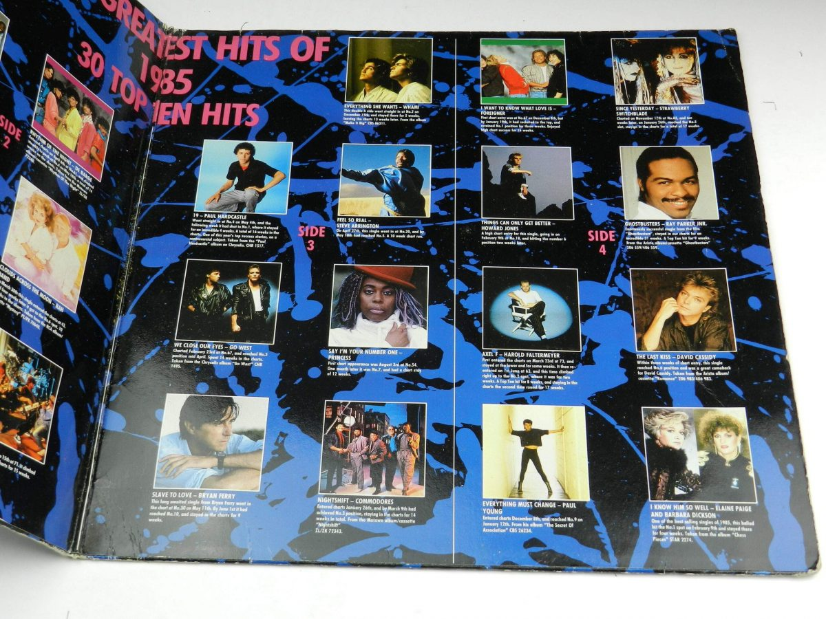 Various – The Greatest Hits Of 1985 vinyl record sleeve gatefold 2 scaled