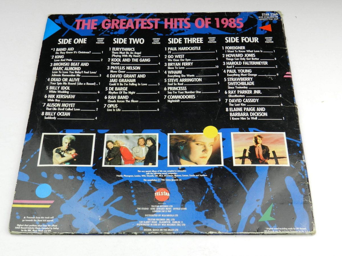 Various – The Greatest Hits Of 1985 vinyl record sleeve rear scaled