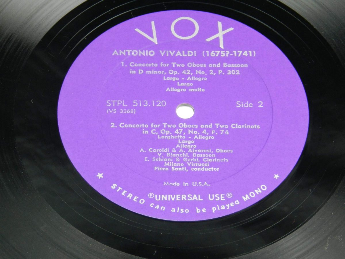Vivaldi – Concerti For Flute Bassoon 2 Oboes and Bassoon2 Oboes and 2 Clarinets vinyl record side B label scaled