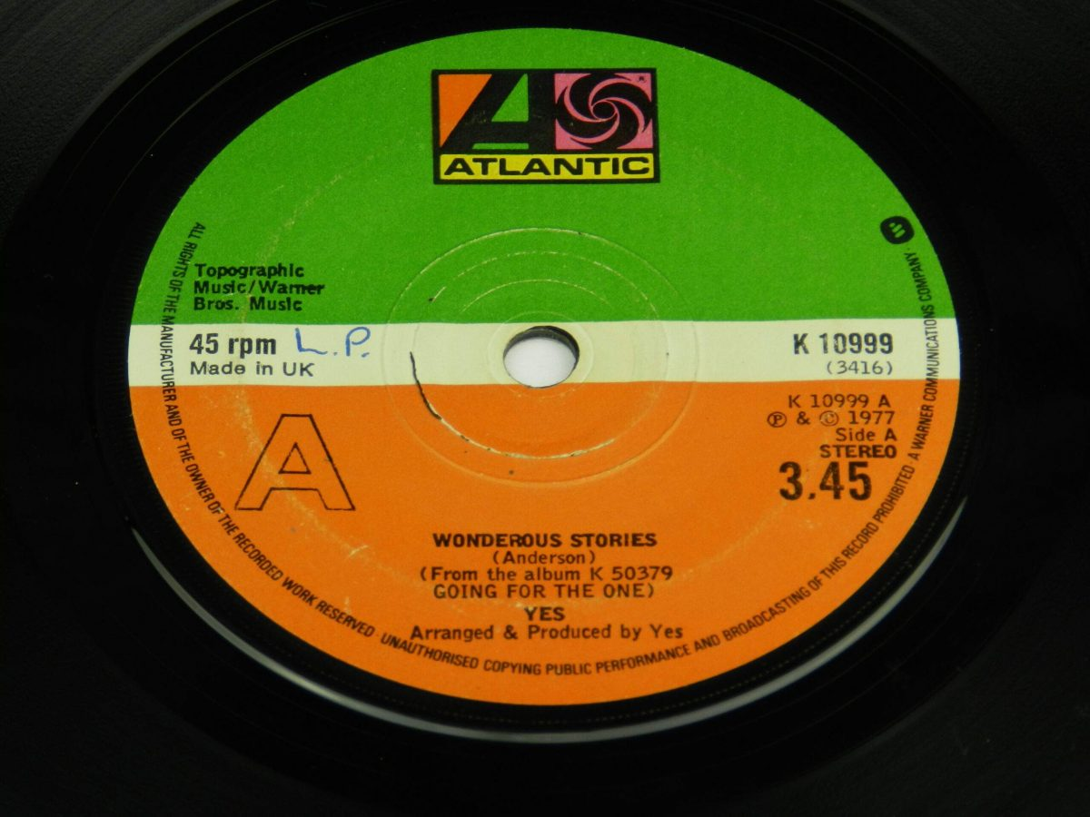 Yes – Wonderous Stories vinyl record side A label scaled