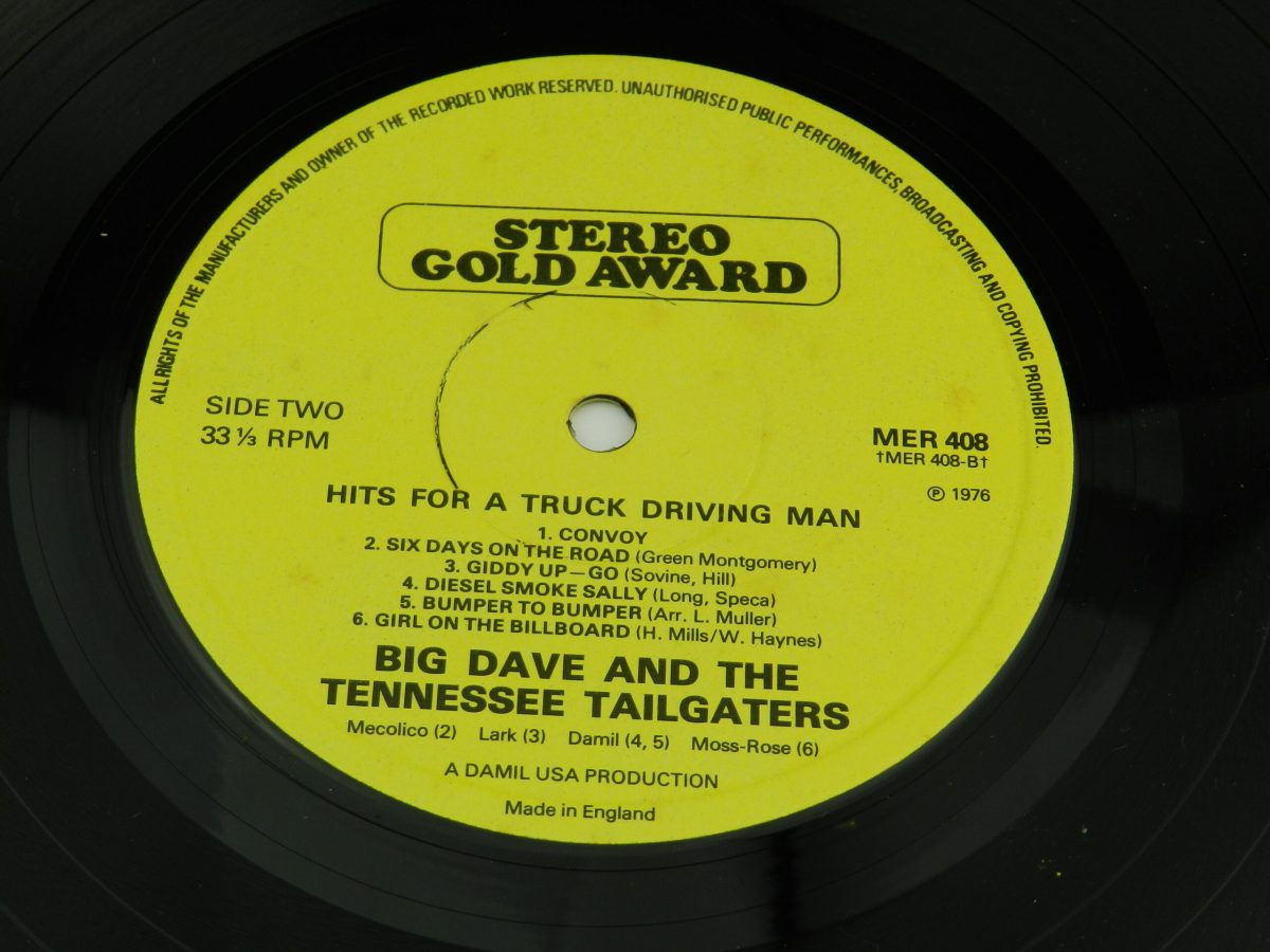 Big Dave And The Tennessee Tailgaters – Hits For A Truck Driving Man vinyl record side B label scaled