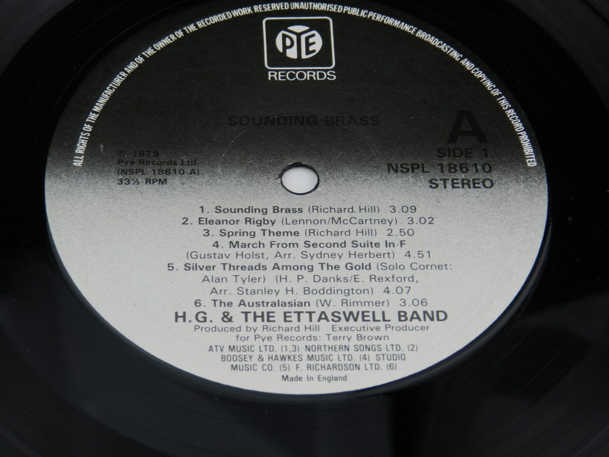 HG and The Ettaswell Band – Sounding Brass vinyl record side A label scaled