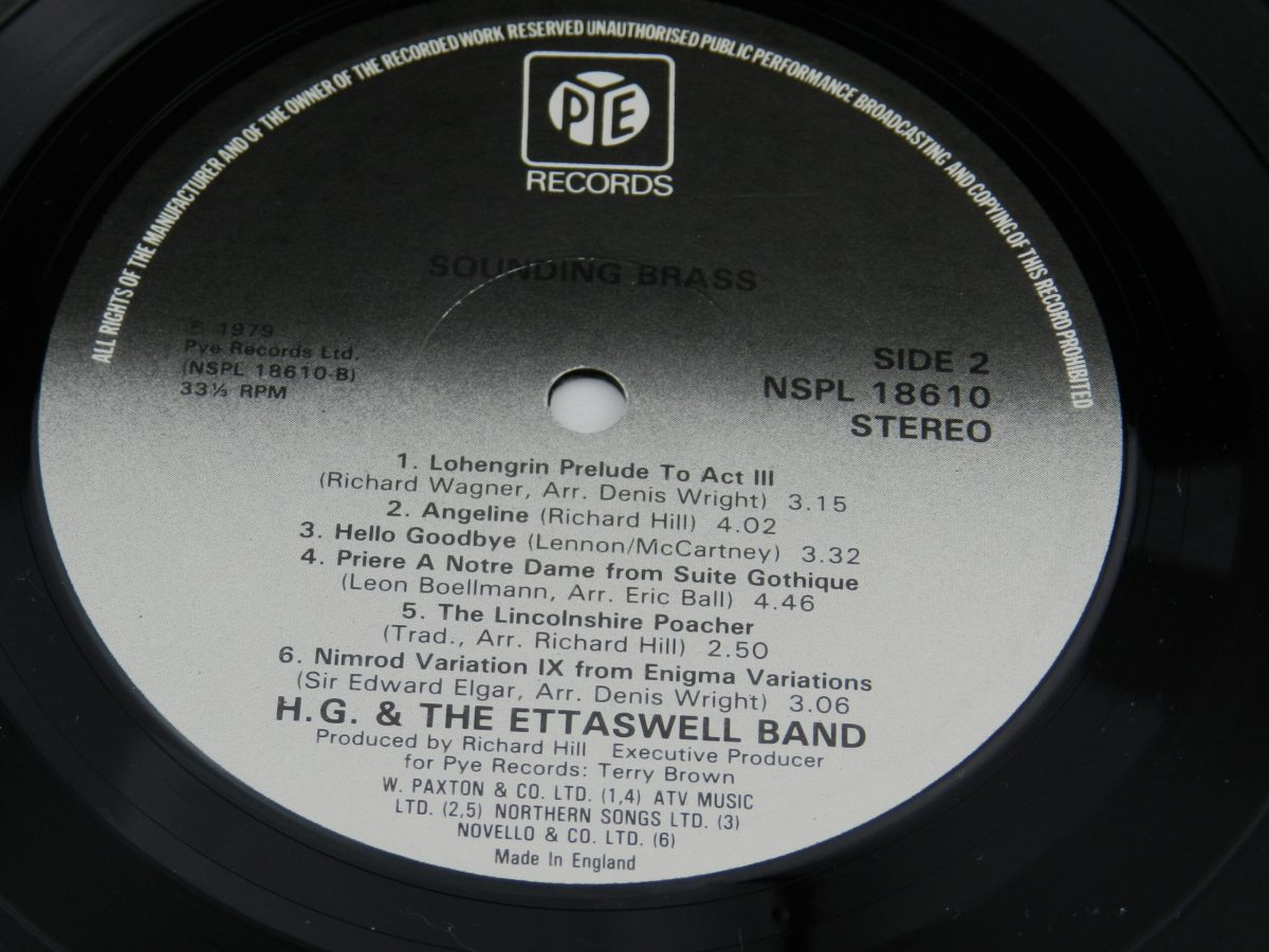 HG and The Ettaswell Band – Sounding Brass vinyl record side B label scaled