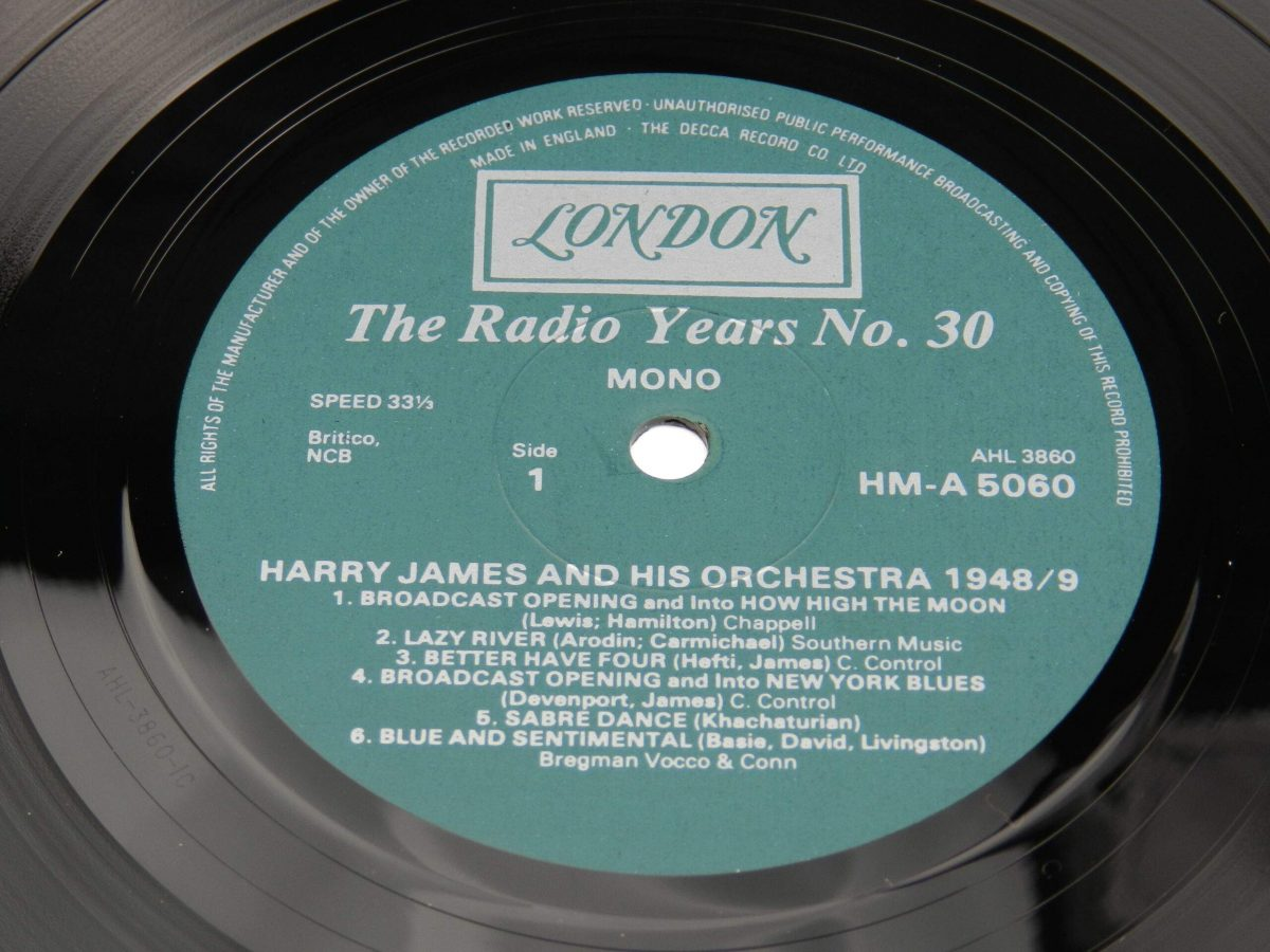 Harry James And His Orchestra – Harry James And His Orchestra 1948 49 vinyl record side A label scaled