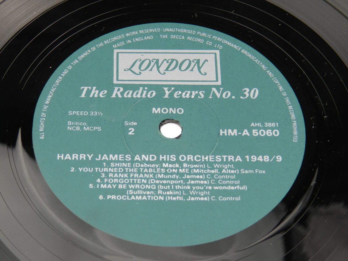 Harry James And His Orchestra – Harry James And His Orchestra 1948 49 vinyl record side B label scaled