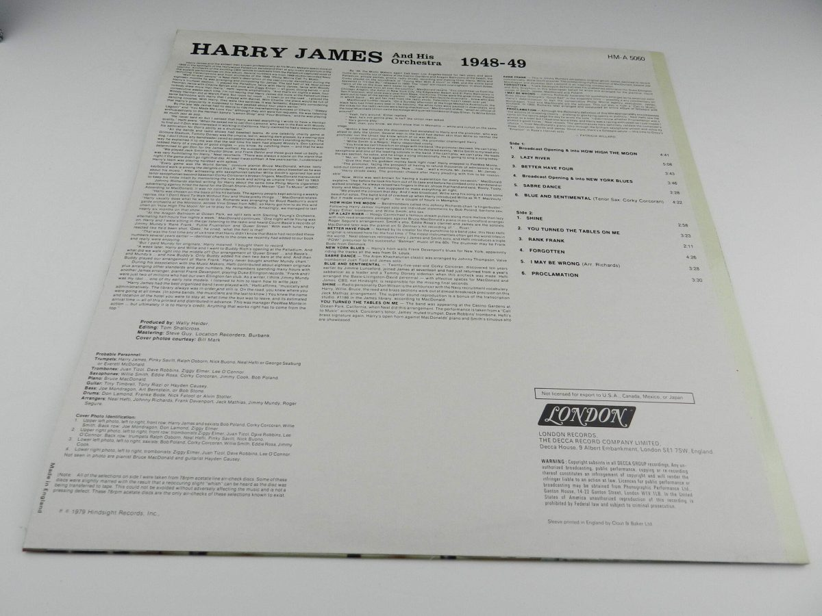 Harry James And His Orchestra – Harry James And His Orchestra 1948 49 vinyl record sleeve rear scaled
