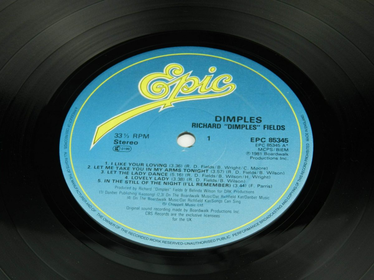 Richard Dimples Fields – Dimples vinyl record side A label 1 scaled