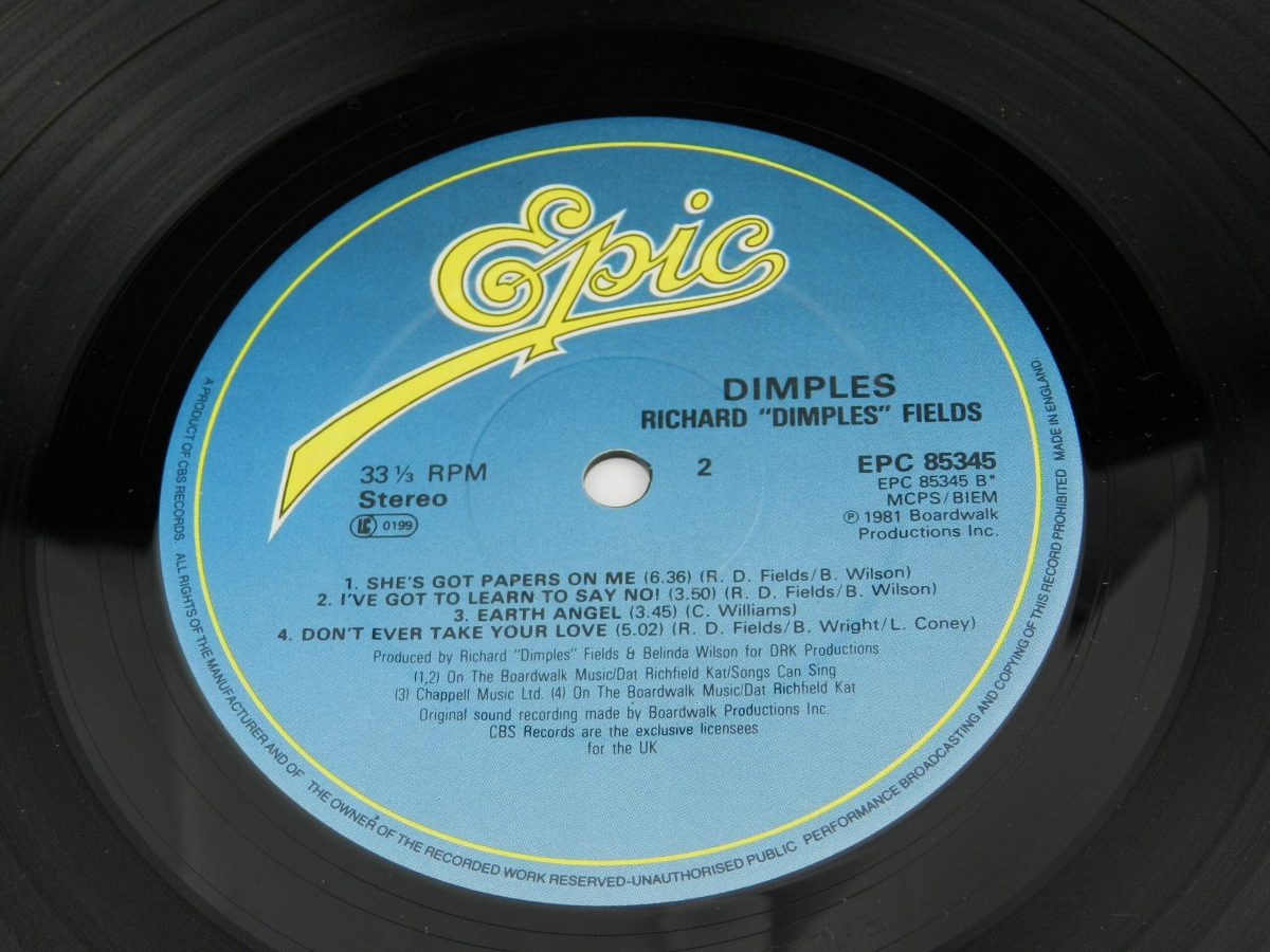Richard Dimples Fields – Dimples vinyl record side B label 1 scaled