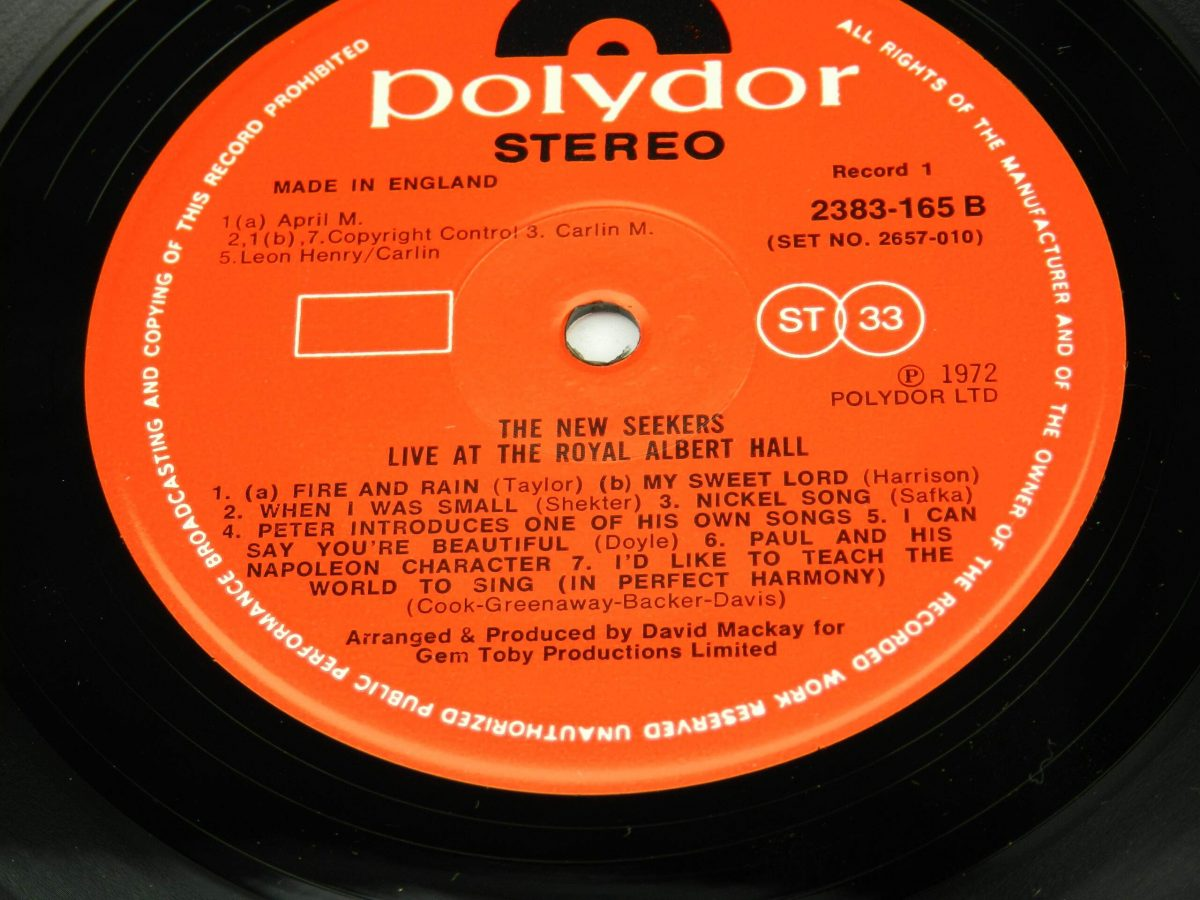 The New Seekers – Live At The Royal Albert Hall vinyl record 1 side B label scaled