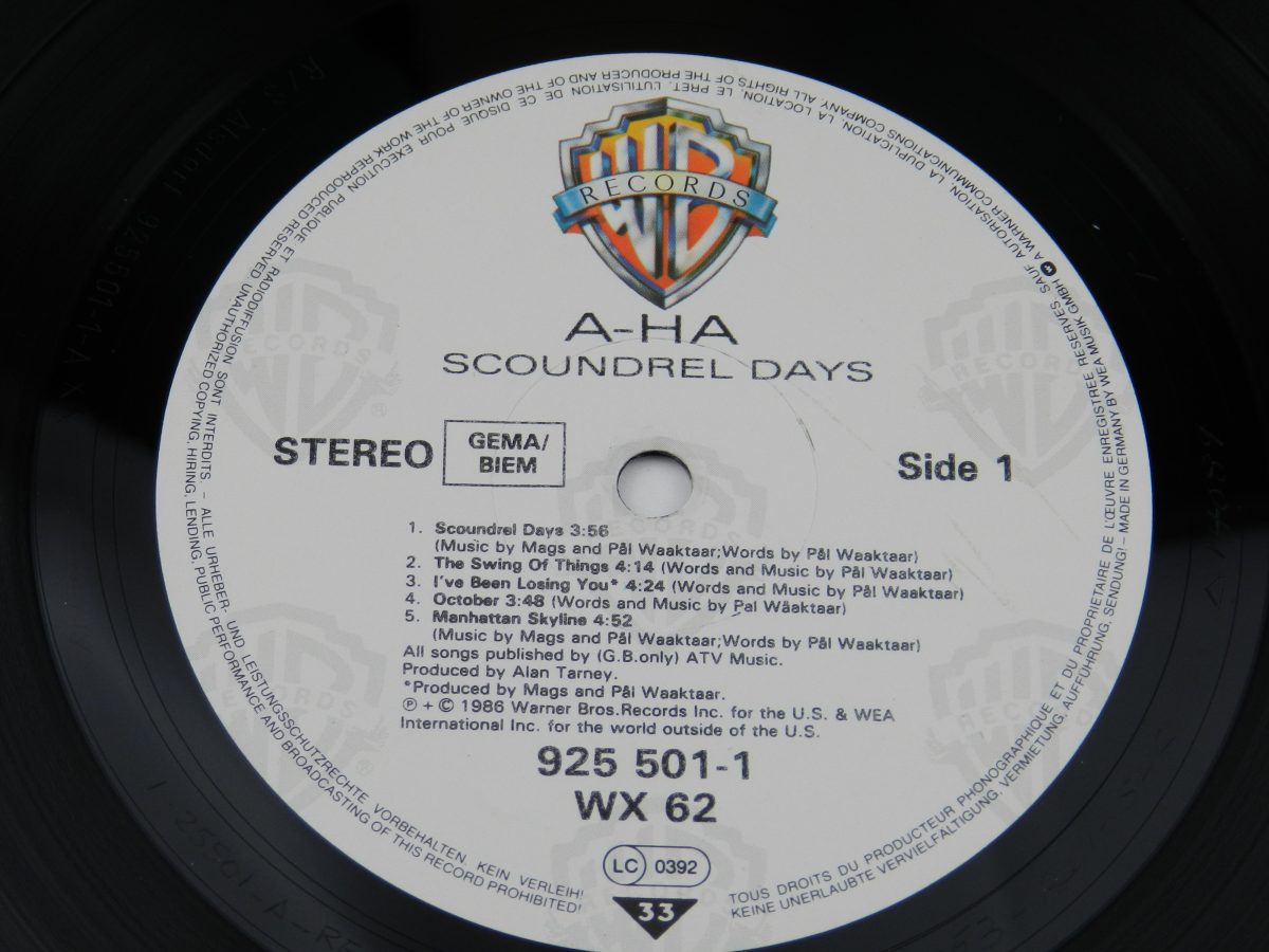 a ha – Scoundrel Days vinyl record side A label scaled