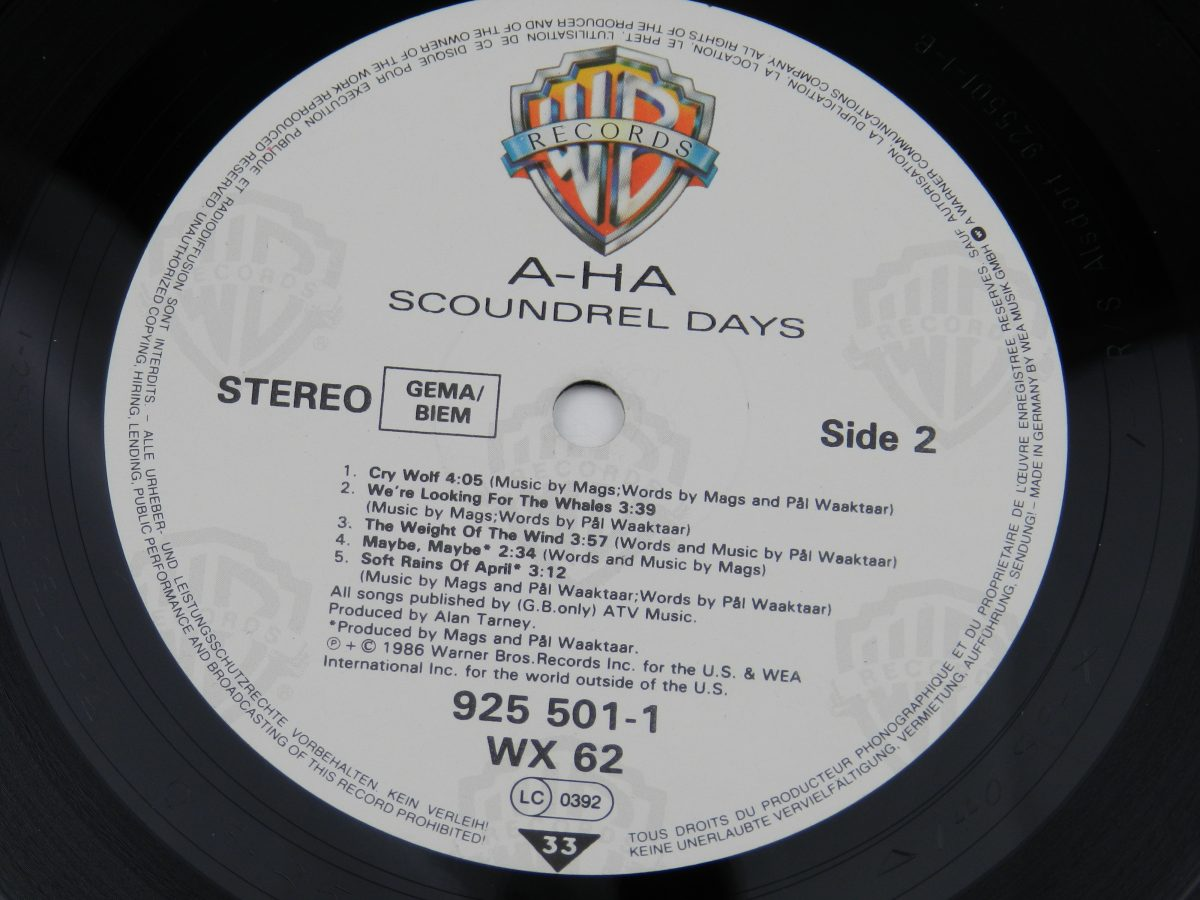 a ha – Scoundrel Days vinyl record side B label scaled