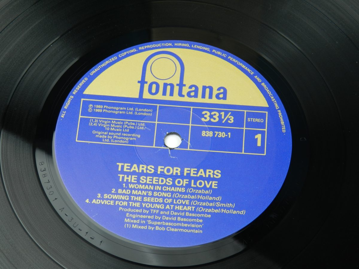 Tears For Fears – The Seeds Of Love vinyl record side A label scaled