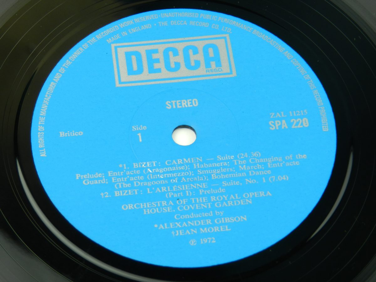 Bizet Orchestra Of The Royal Opera House Covent Garden Alexander Gibson · Jean Morel – Carmen LArlesienne vinyl record side A label scaled