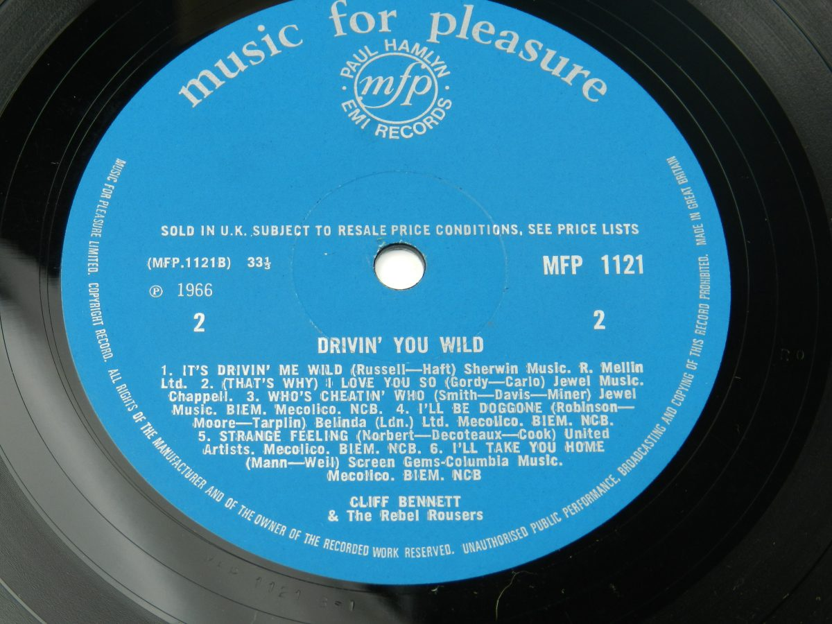 Cliff Bennett The Rebel Rousers – Drivin You Wild vinyl record side B label scaled