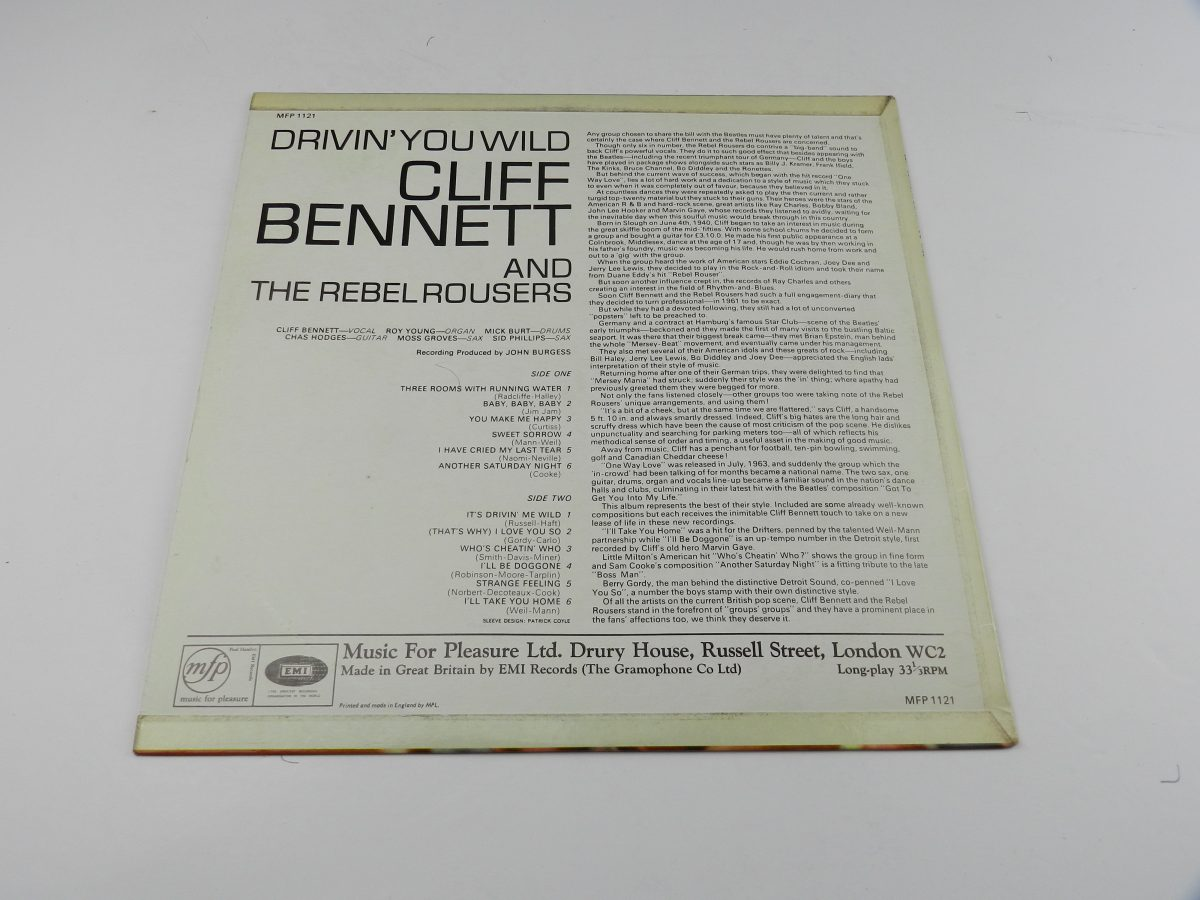 Cliff Bennett The Rebel Rousers – Drivin You Wild vinyl record sleeve rear scaled