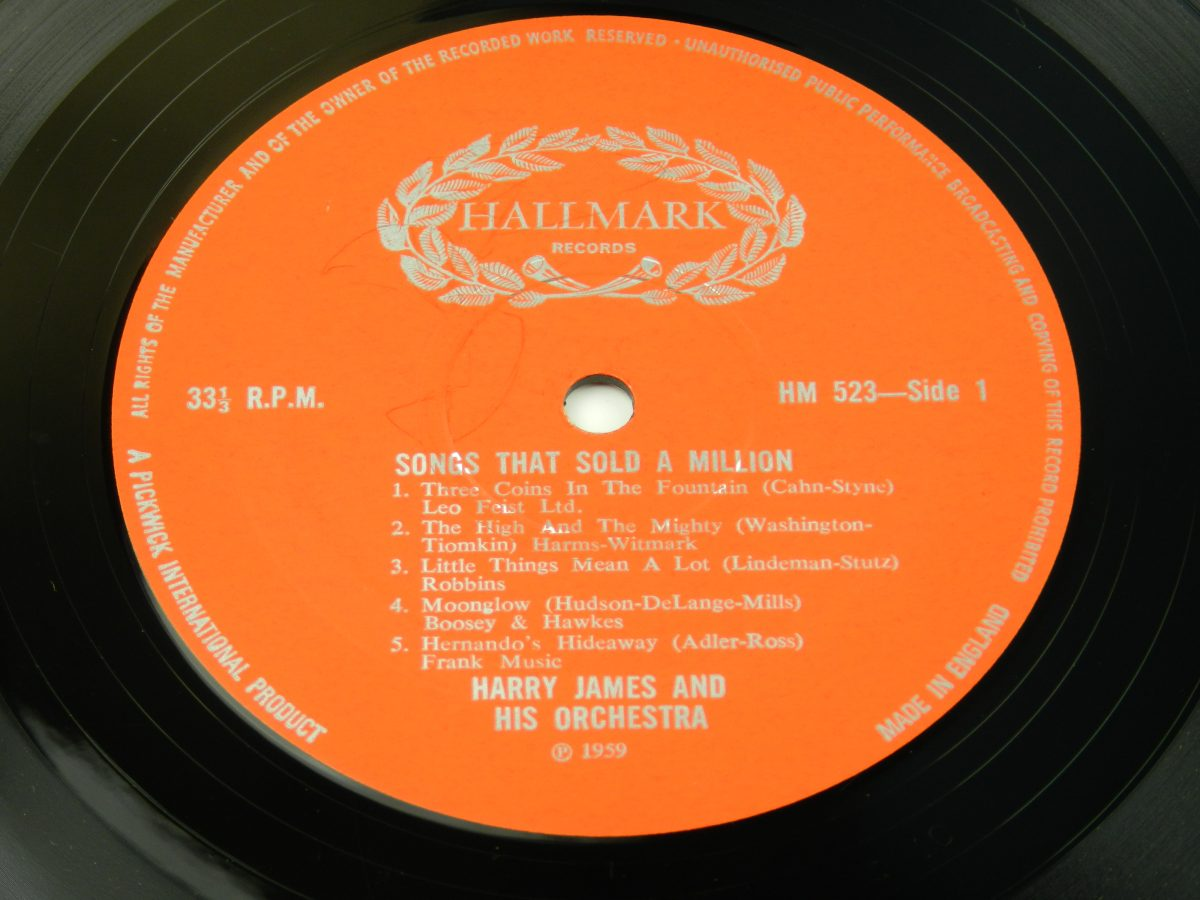 Harry James And His Orchestra – Songs That Sold A Million vinyl record side A label scaled