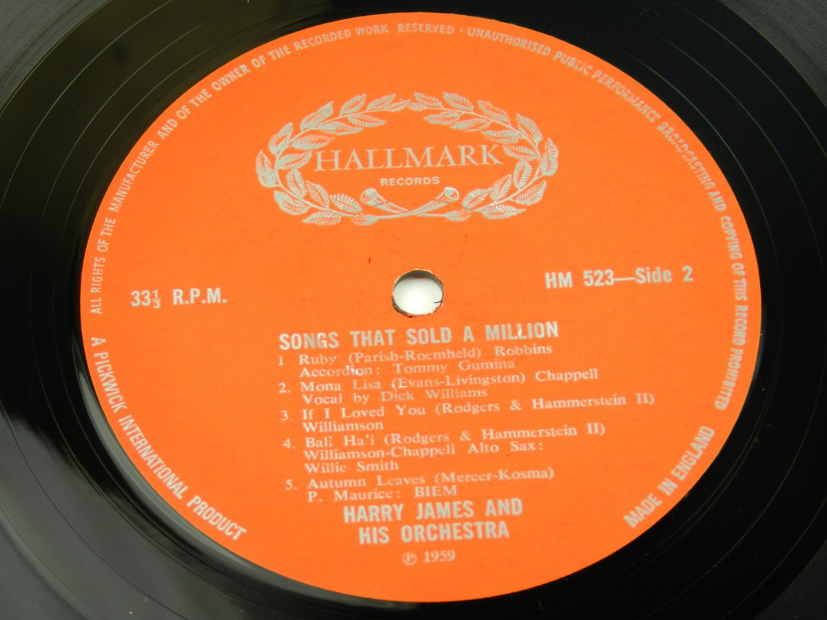 Harry James And His Orchestra – Songs That Sold A Million vinyl record side B label scaled