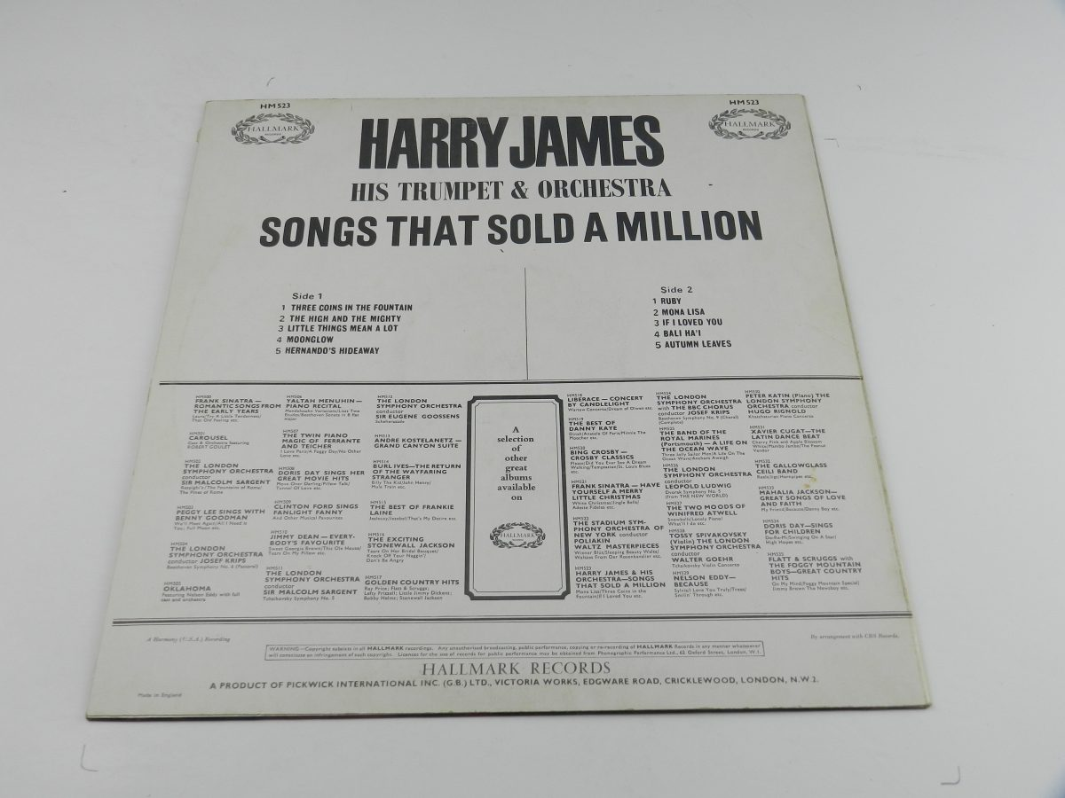 Harry James And His Orchestra – Songs That Sold A Million vinyl record sleeve rear scaled