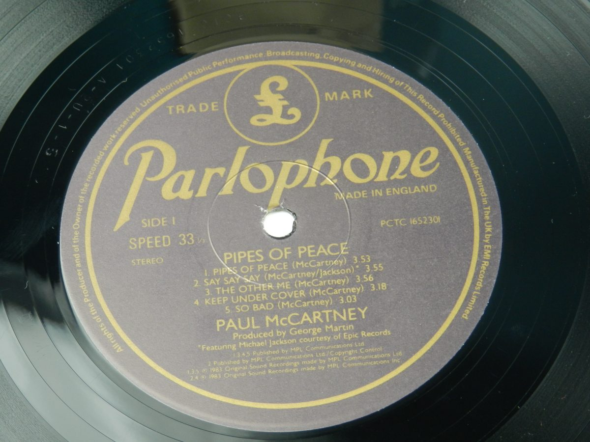 Paul McCartney – Pipes Of Peace vinyl record side A label scaled