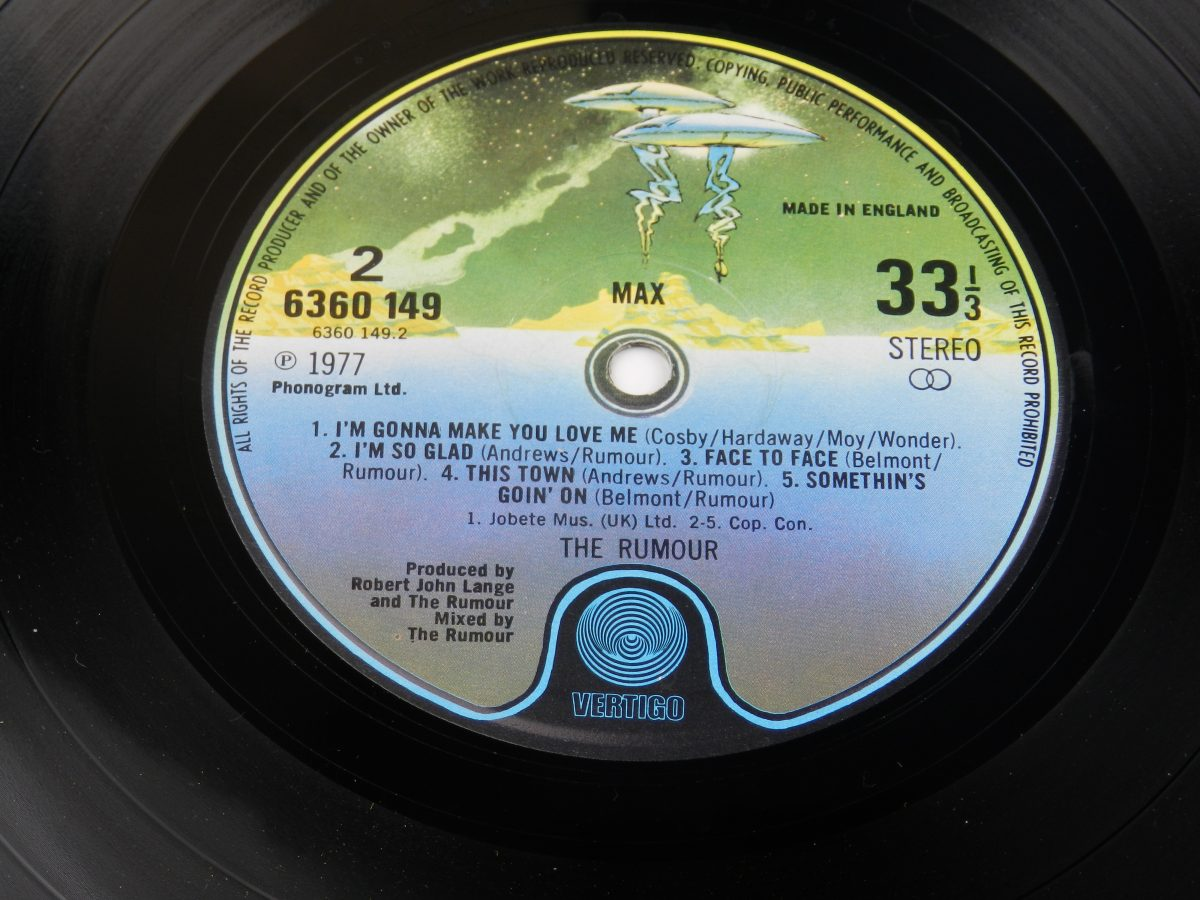 The Rumour – Max vinyl record side B label scaled
