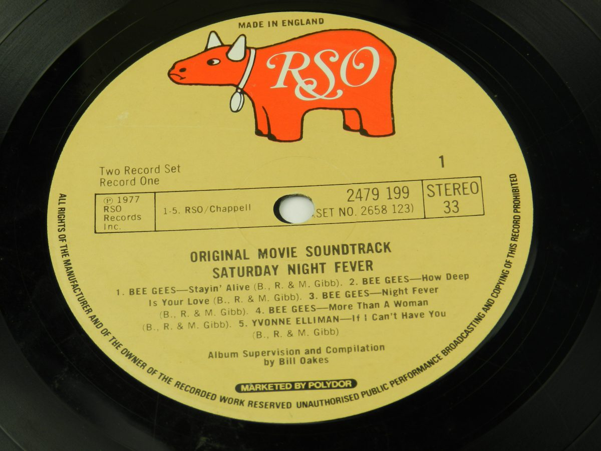 Various – Saturday Night Fever The Original Movie Sound Track vinyl record 1 side A label scaled