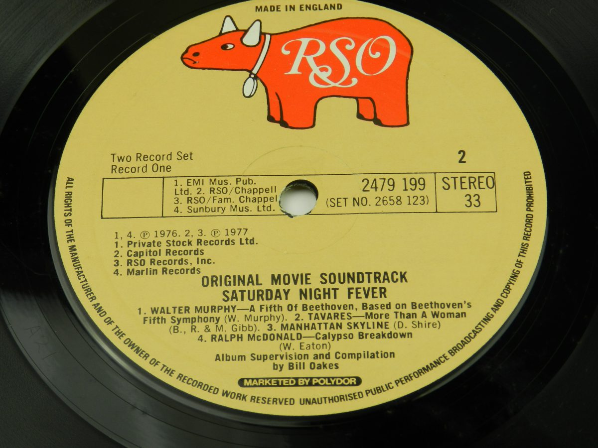 Various – Saturday Night Fever The Original Movie Sound Track vinyl record 1 side B label scaled