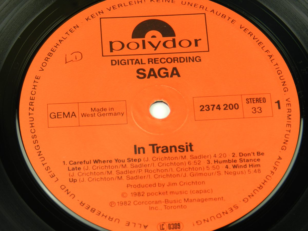 Saga – In Transit vinyl record side A label scaled