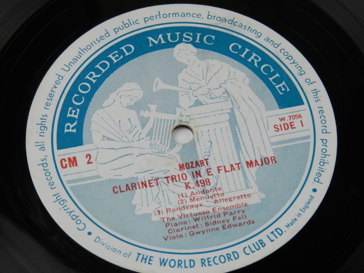 Trio For Clarinet Viola And Piano In E Flat K. 498 Trio For Clarinet Cello And Piano In B Flat Opus 11 vinyl record side A label scaled