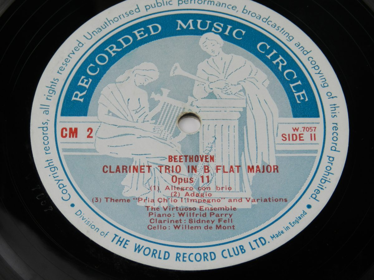 Trio For Clarinet Viola And Piano In E Flat K. 498 Trio For Clarinet Cello And Piano In B Flat Opus 11 vinyl record side B label scaled