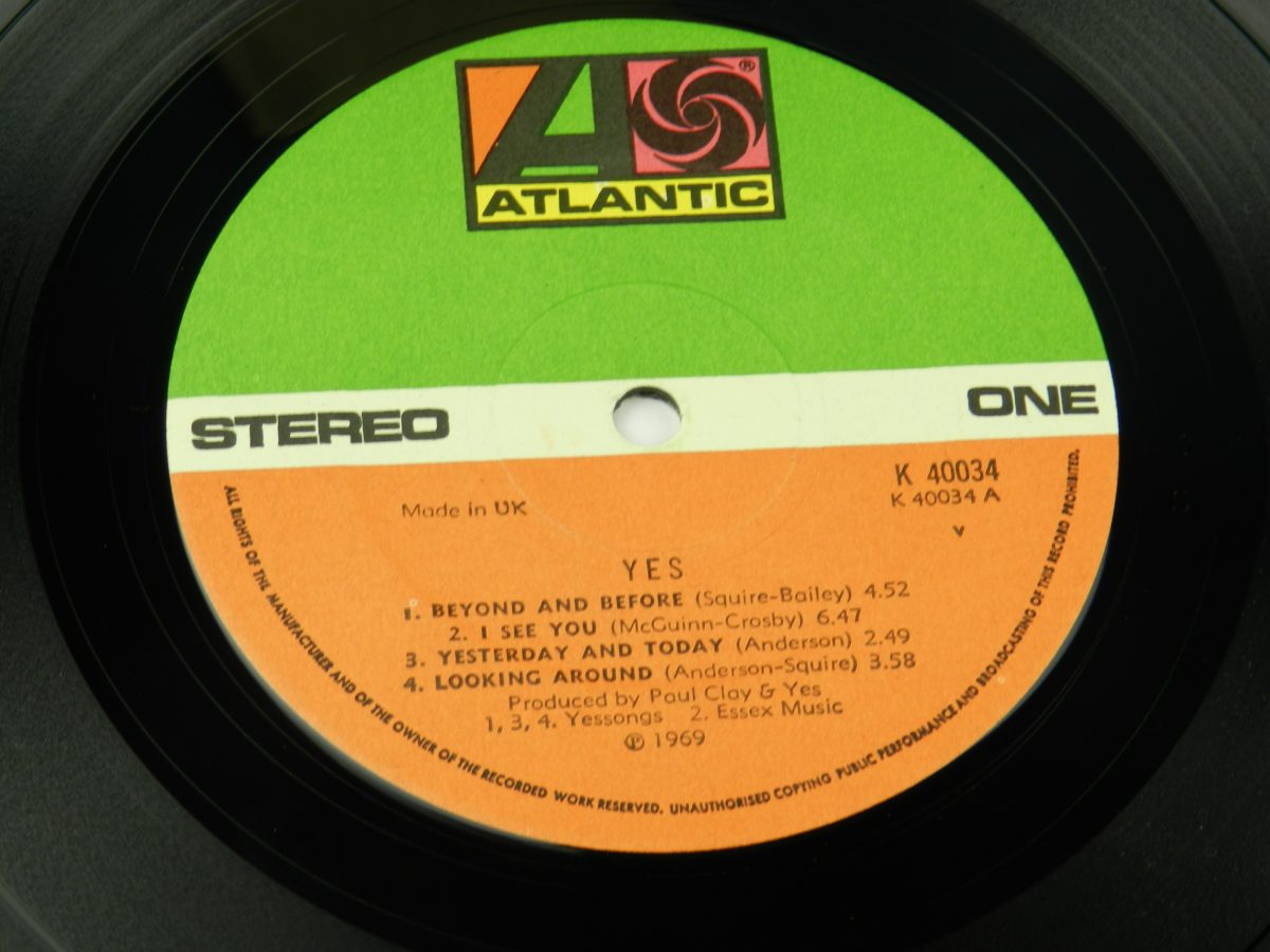 Yes – Yes vinyl record side A label