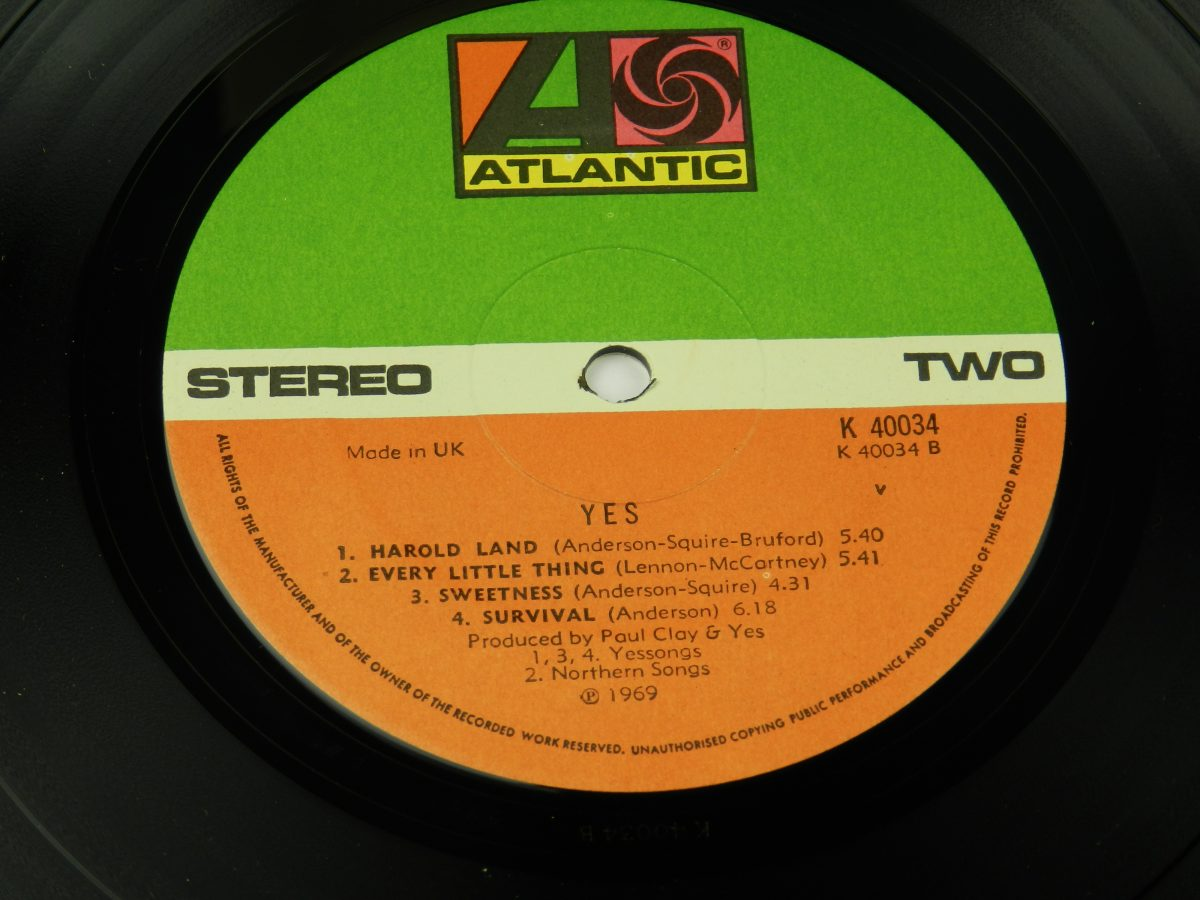 Yes – Yes vinyl record side B label