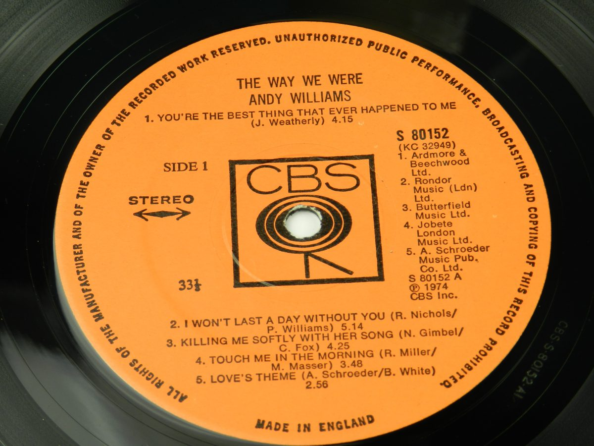 Andy Williams – The Way We Were vinyl record side A label