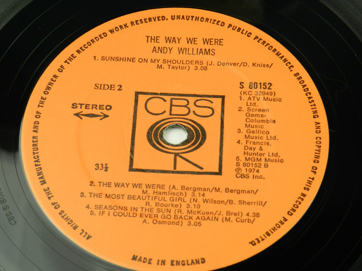 Andy Williams – The Way We Were vinyl record side B label
