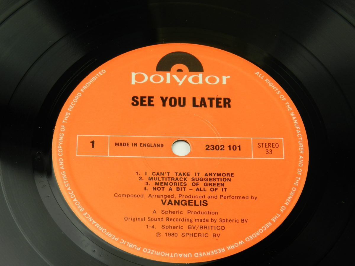 Vangelis – See You Later vinyl record side A label