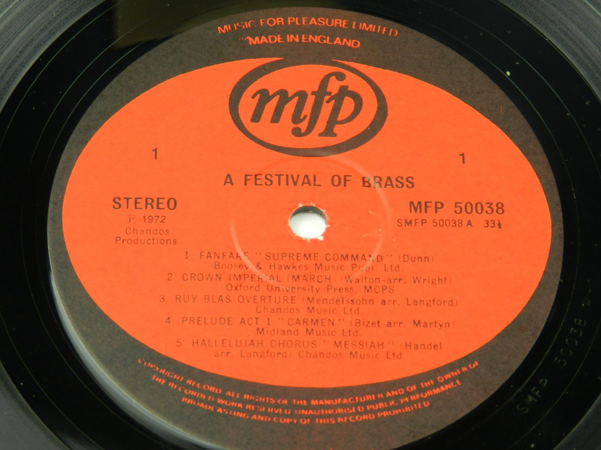Various – A Festival Of Brass vinyl record side A label