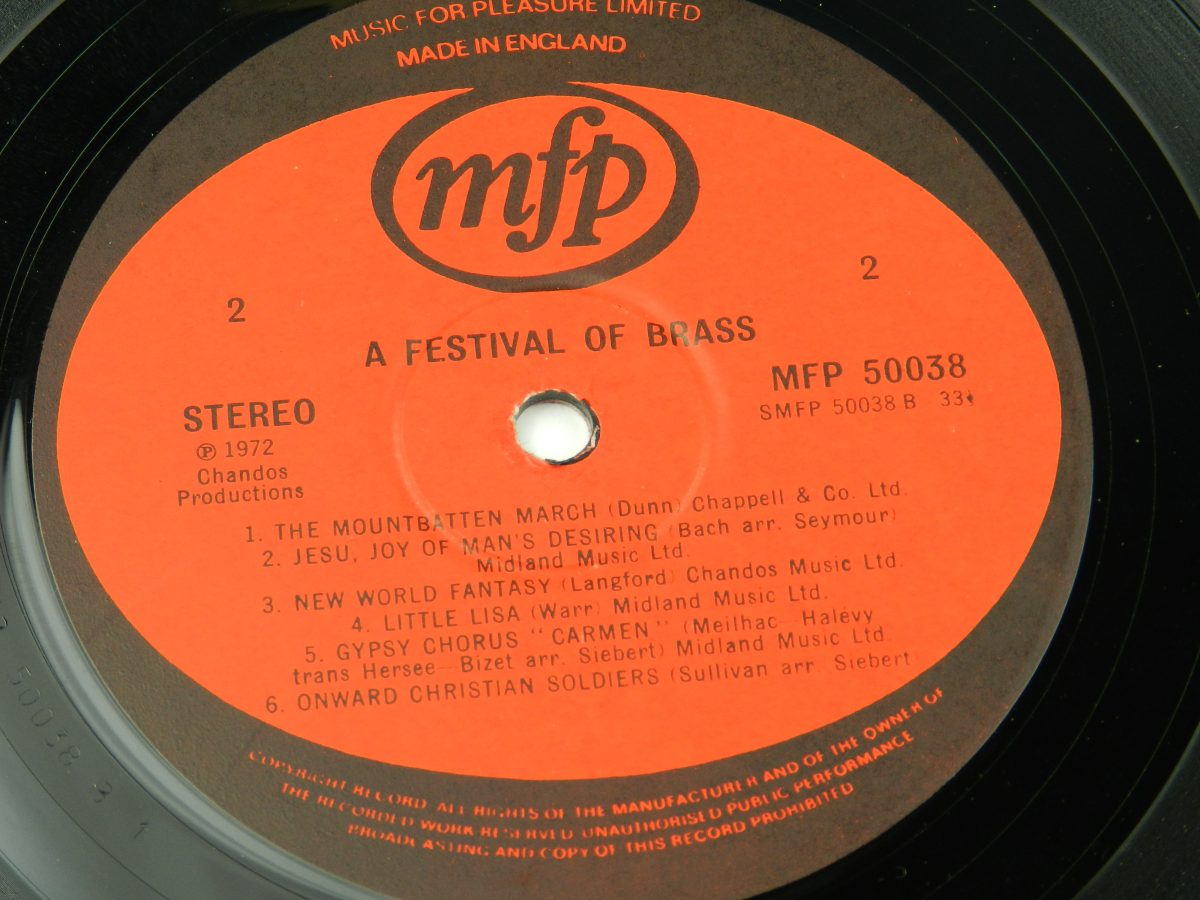 Various – A Festival Of Brass vinyl record side B label
