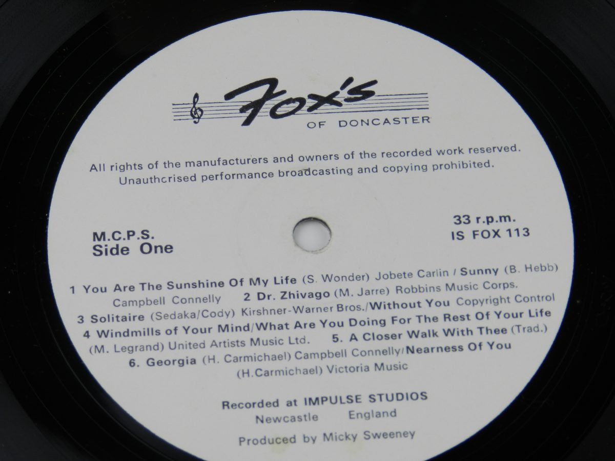 Various – The Best Of Us vinyl record side A label