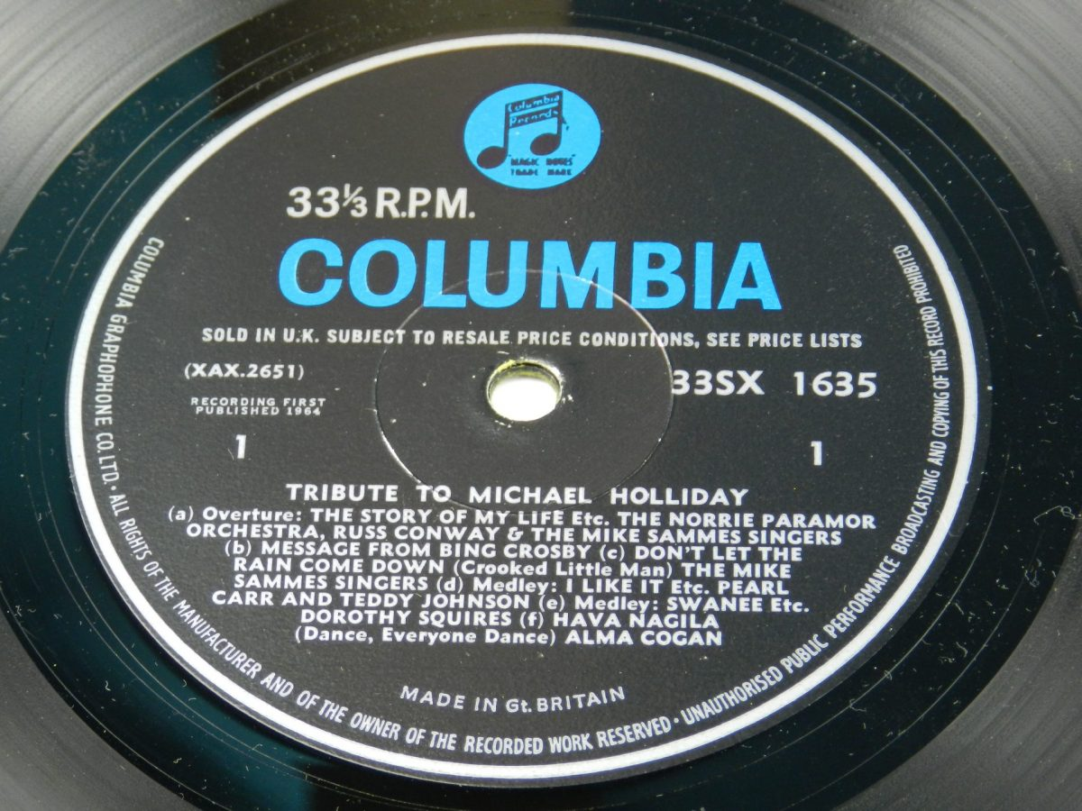 Various – Tribute To Michael Holliday vinyl record side A label