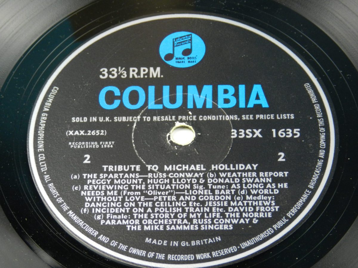 Various – Tribute To Michael Holliday vinyl record side B label