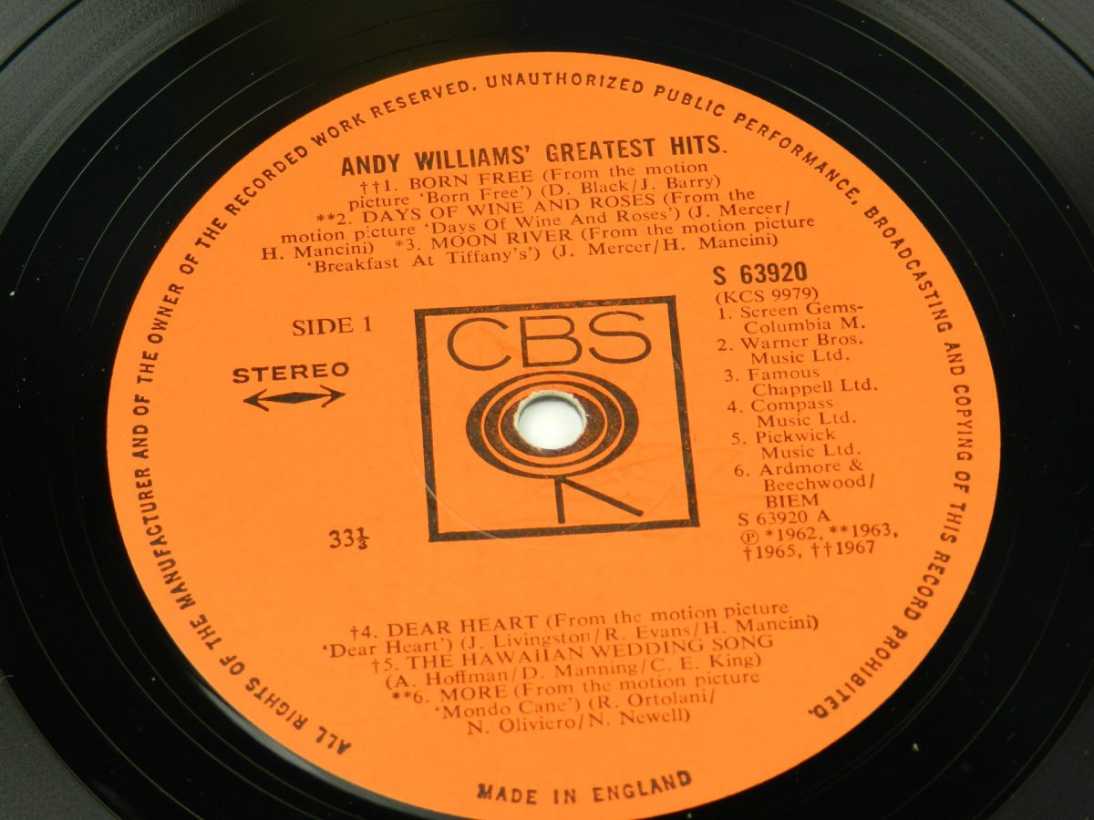 Andy Williams – Andy Williams Greatest Hits vinyl record side A label