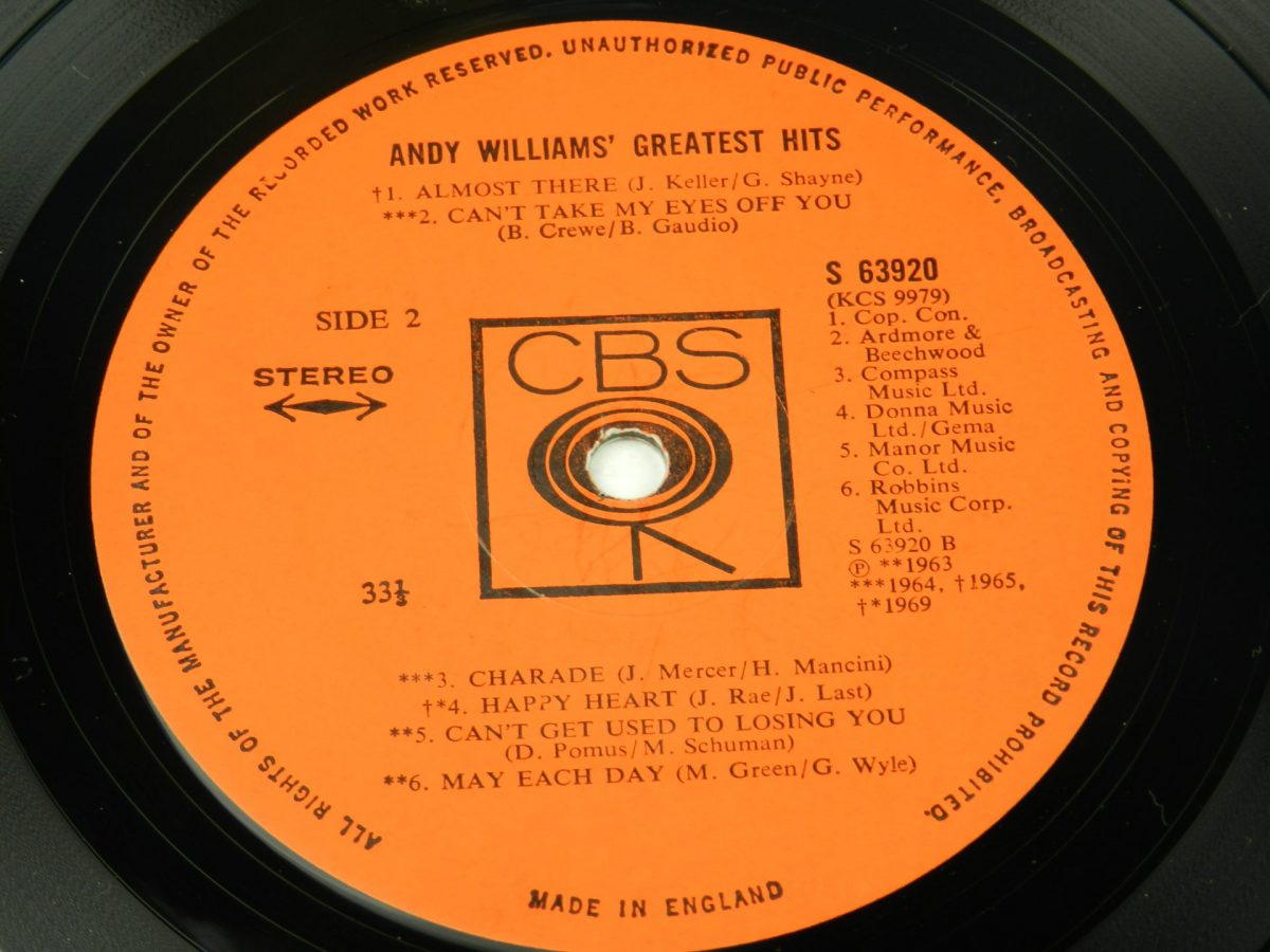 Andy Williams – Andy Williams Greatest Hits vinyl record side B label