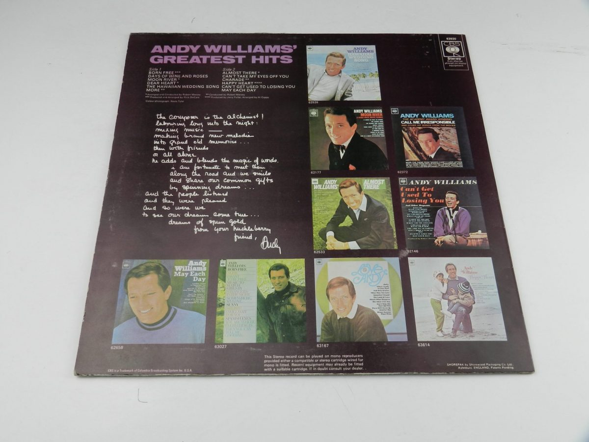 Andy Williams – Andy Williams Greatest Hits vinyl record sleeve rear