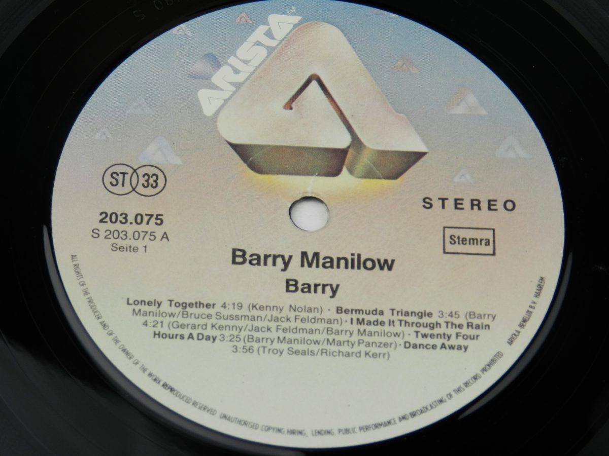 Barry Manilow – Barry vinyl record side A label scaled