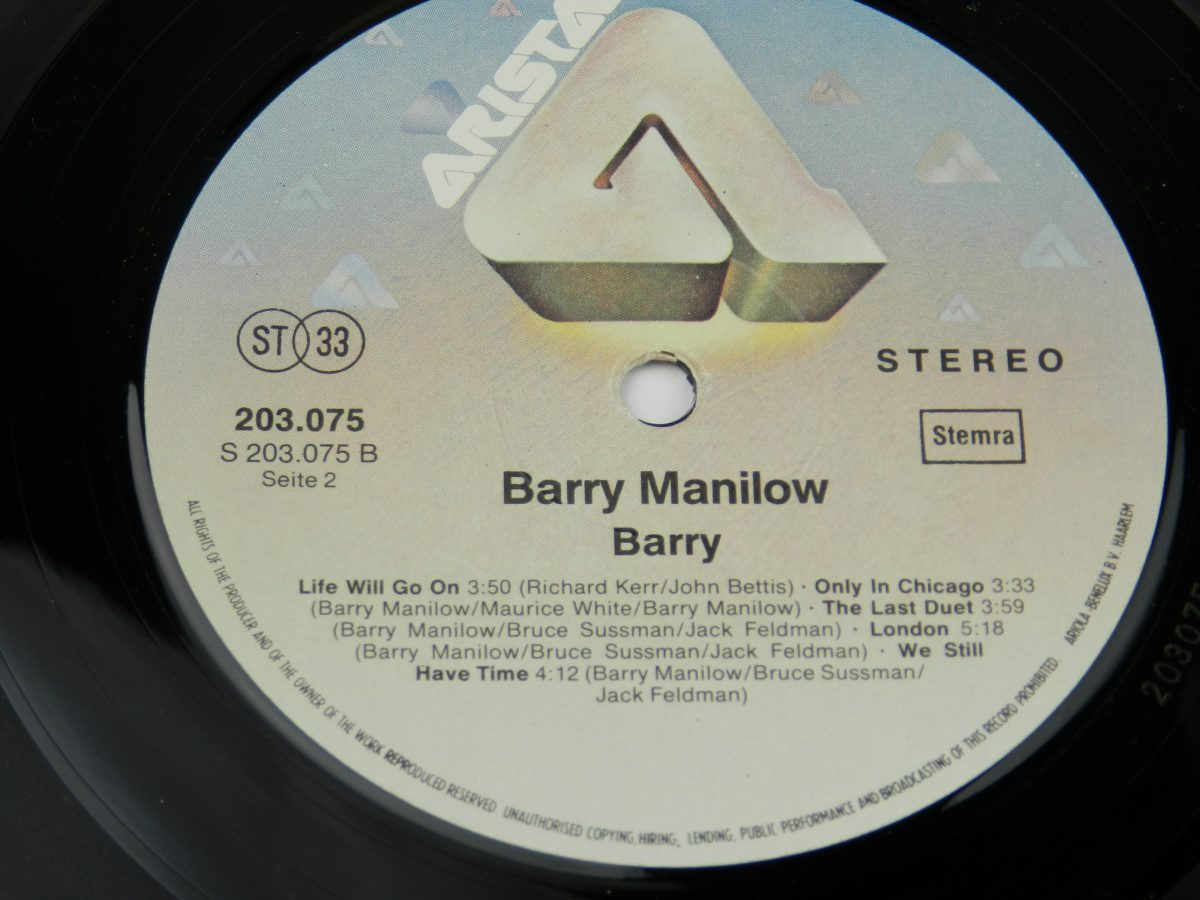 Barry Manilow – Barry vinyl record side B label scaled