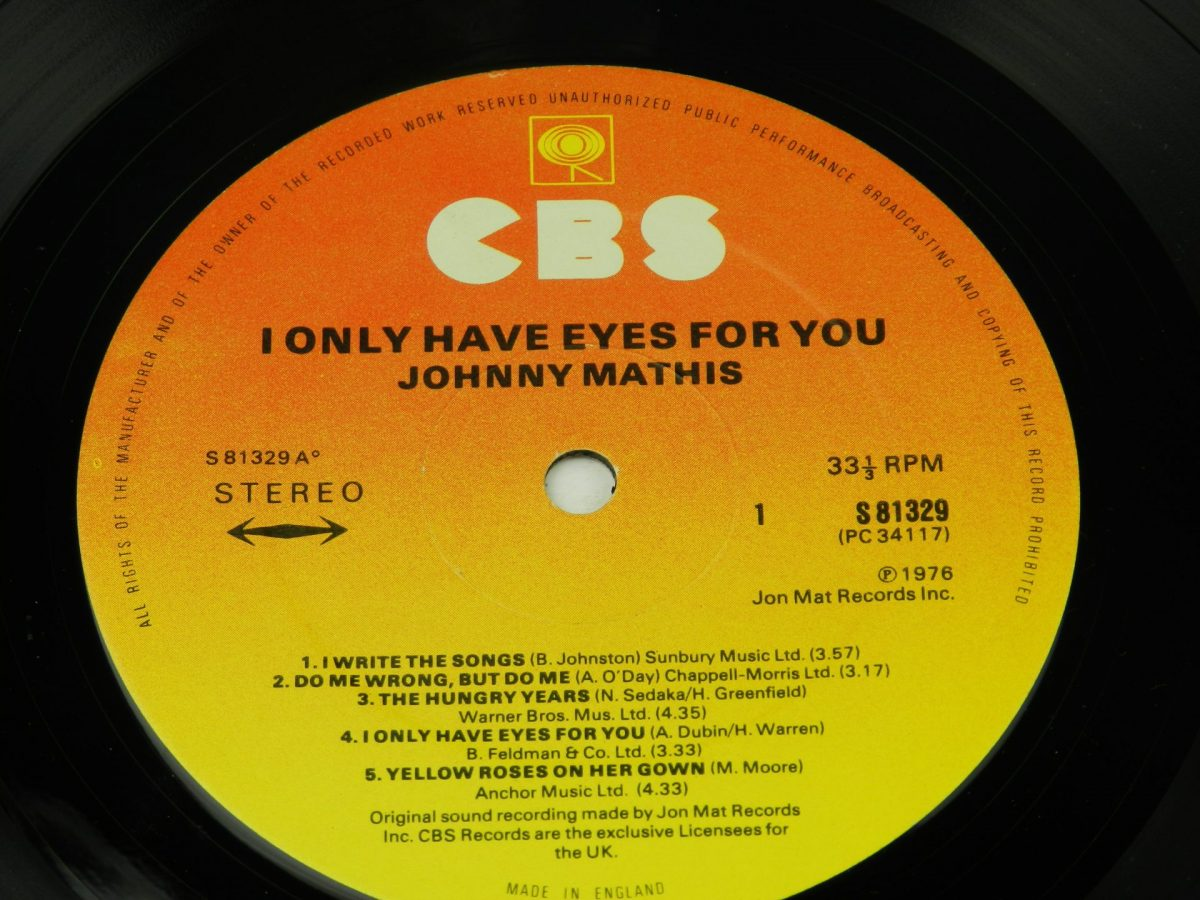 Johnny Mathis – I Only Have Eyes For You vinyl record side A label