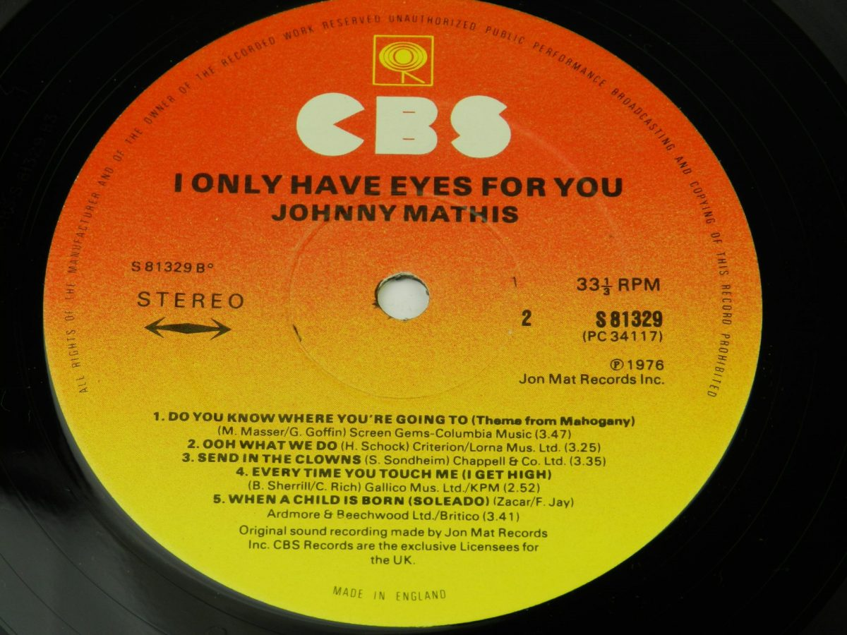 Johnny Mathis – I Only Have Eyes For You vinyl record side B label