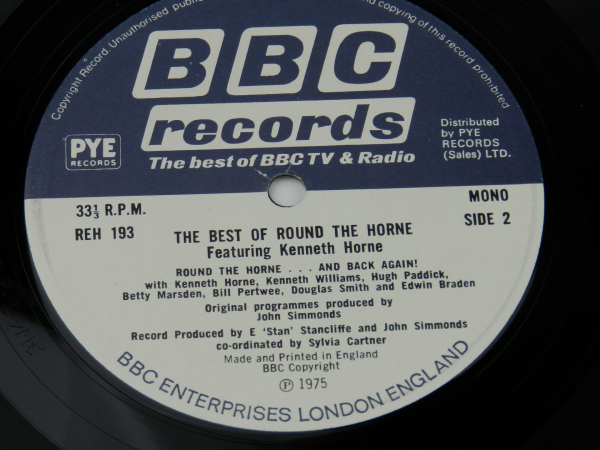 Round The Horne Featuring Kenneth Horne – The Best Of Round The Horne vinyl record side B label
