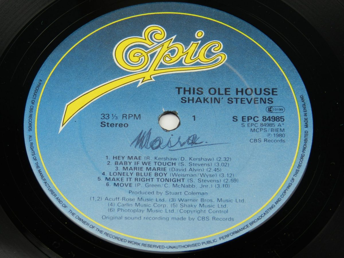 Shakin Stevens – This Ole House vinyl record side A label