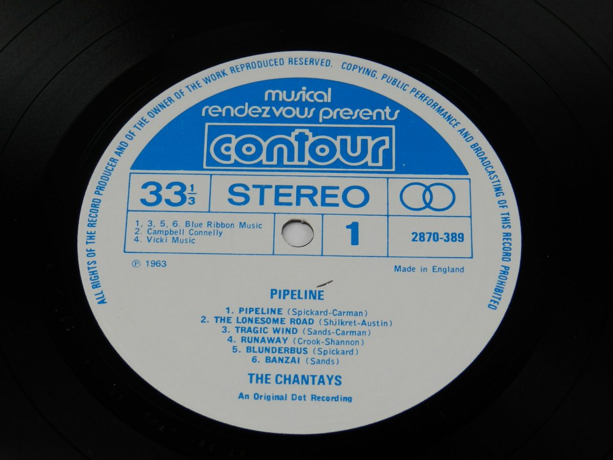 The Chantays – Pipeline vinyl record side A label